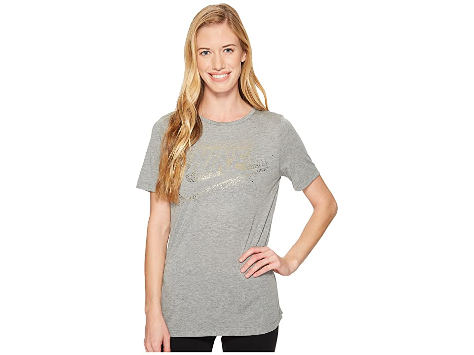 Nike Sportswear Essential Metallic Tee (Carbon Heather) Women