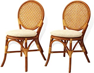 Set of 2 Denver Dining Armless Accent Wicker Side Chair with Cream Cushions Handmade Rattan Wicker Furniture Colonial