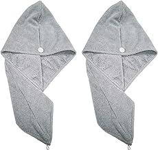 Polyte - Torkhandduk/Hårturban - mikrofiber - 2-pack - grå - 30 x 71 cm
