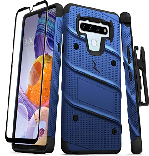 ZIZO Bolt Series for LG Stylo 6 Case with Screen Protector Kickstand Holster Lanyard - Blue & Black