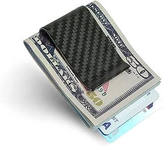 SERMAN BRANDS Carbon Fiber Money Clip Credit Card holder Slim Business Card Holder Clips for Men Black Glossy