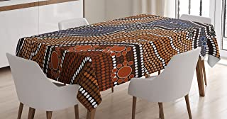 Ambesonne Art Tablecloth, Aboriginal Style of Dot Painting Depicting River Native Australian Illustration, Dining Room Kitchen Rectangular Table Cover, 60W X 84L inches, Brown Blue Orange