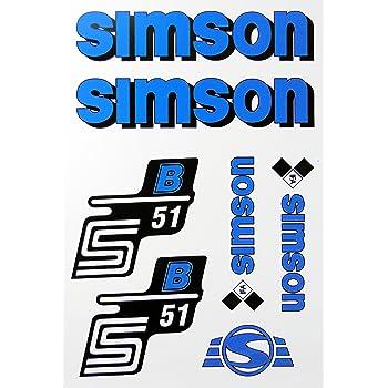 Aufkleber-Set Simson S51N blau Seitendeckel Tank BJ-Handel