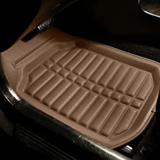 FH Group F14409SOLIDBEIGE Solid Beige F14409SOLIDGRAY Deep Tray All Weather Floor Mats 4 Piece Set