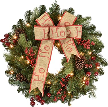 Puleo International 24 Inch Pre-Lit Decorated Wreath with Bow, Berries, Mixed Greens and 35 Clear Lights