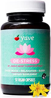 Yuve Anxiety Relief Vitamin Supplement - Mood Enhancer & Mental Health Support - 300 mg All Natural & Pure St. John's Wort...