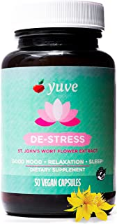 Yuve Anxiety Relief Vitamin Supplement - Mood Enhancer & Mental Health Support - 300 mg All Natural & Pure St. John's Wort Extract - Promotes Well Being - Non-GMO, Gluten-Free, Vegan - 50 Veg Capsules