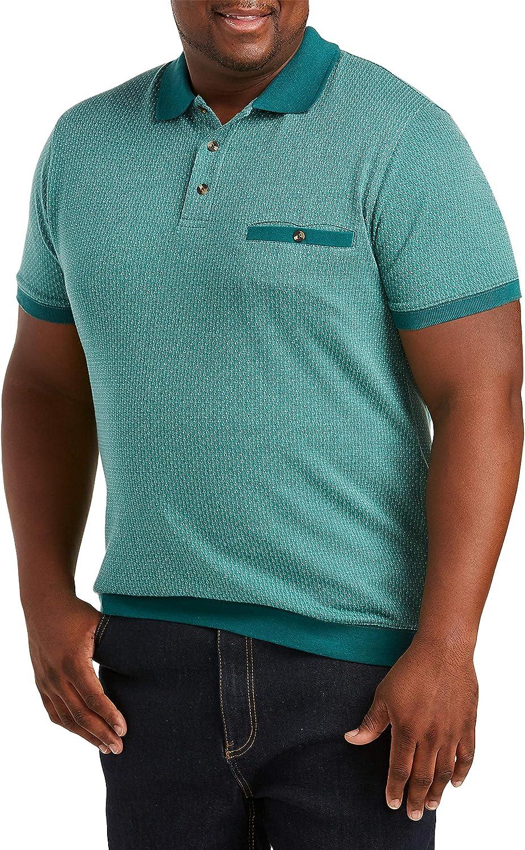 Harbor Bay by DXL Big and Tall Dotted-Diamond Print Banded-Hem Polo Shirt, Green