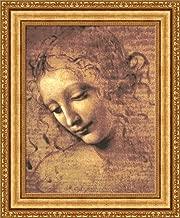 FOREVER Leonardo da Vinci Head of a Woman Framed Canvas Giclee Print - Finished Size (W) 23.1'' x (H) 28.1'' [Gold] (S03-15K-MD535-01) - Enhanced Image