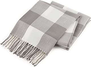 GOOD MANORS Buffalo Plaid Throw Blanket with Fringe, Farmhouse Check Pattern, Ultra Lightweight 15 oz, Woven Soft Breathable Stylish, 50 x 60 in. (Gray)