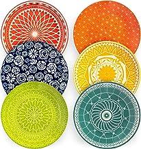 Annovero Dinner Plates, Set of 6 Porcelain Plates, 10.5 Inch Diameter, Flat
