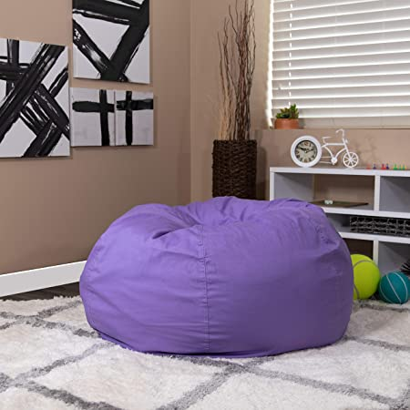 EMMA OLIVER Oversized Solid Brown Bean Bag Chair for Kids and Adults