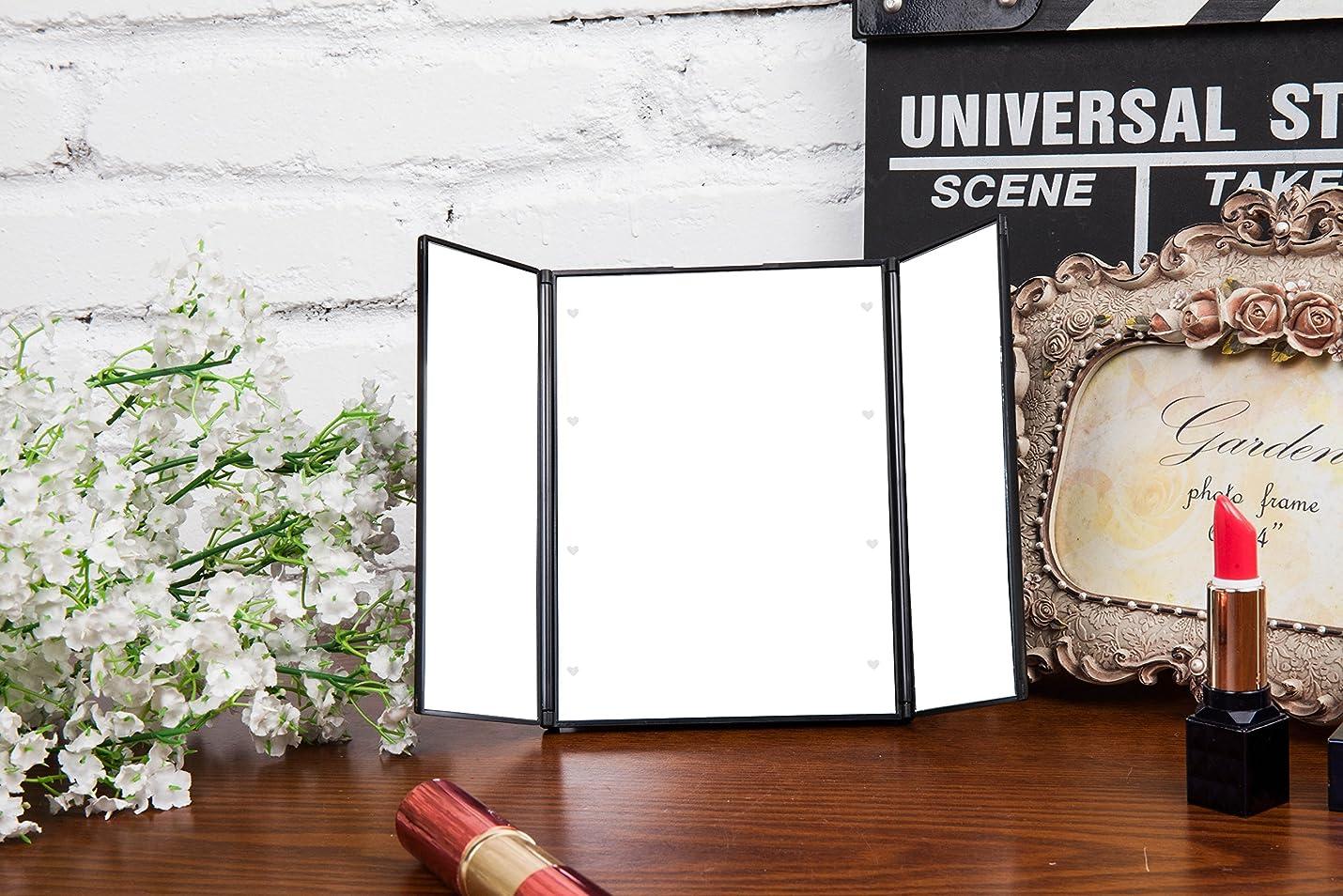 エンターテインメント発生ティーンエイジャー三面鏡 化粧鏡 卓上 LEDミラー ライト付き 折りたたみ式 スタンドタイプ (ブラック)
