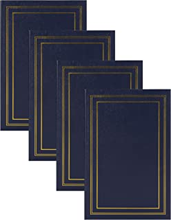 DesignOvation Traditional Photo Albums, Holds 300 4x6 Photos, Set of 4, Navy Blue