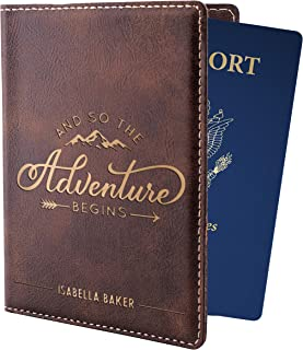 Personalized Passport Holder w Name and Quote - Custom Engraved Leather Passport Cover for Women and Men - Christmas Gifts for Travelers, Christmas, Honeymoon, Travel Gifts | Adventure Begins