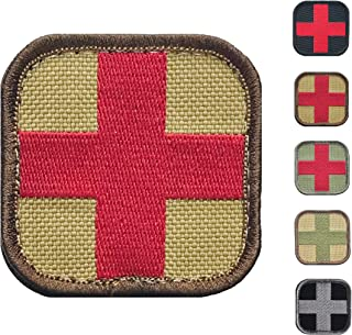 Medic Cross First Aid Morale Patch - Stitch/Embroidered - Perfect for IFAK Rip Away Pouch, EMT, EMS, Trauma, Medical, Paramedic First Response Rescue Kit - Tactical, Combat, Emergency (Coyote-RED)