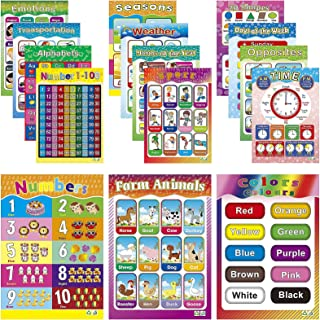 Educational Posters for Preschool Kids Classroom Learning Alphabet Numbers Shapes Colors Laminated Poster Chart Set 15 Pack