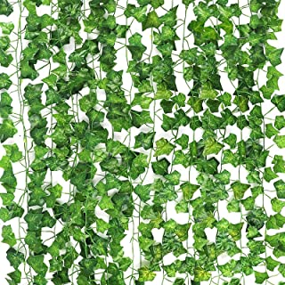 CEWOR 14 Pack (79 Inches Each) Fake Ivy Leaves Artificial Ivy Leaves Greenery Garlands Hanging Plant Vine with 50 Green Ny...