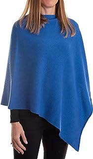 Poncho Misto Cashmere Donna Made in Italy Lana Merino Cachemire Nero Beige Bianco Blu Grigio Maglia Mantella Scialle Tagli...