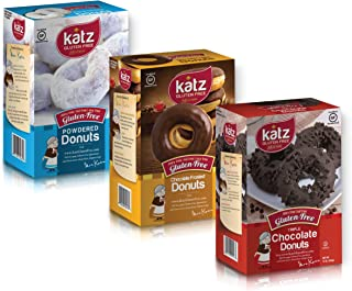 Katz Gluten Free Donut Variety Pack | 1 Powdered, 1 Chocolate Frosted, 1 Triple Chocolate | Dairy Free, Nut Free, Soy Free, Gluten Free | Kosher (1 Pack of each)