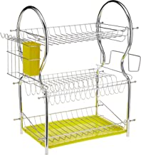 RC-Global RC-C53 GN 2-3 Tiers Dish Drainer Rack with Cup Holder & Cutlery Holder/Drip Tray, Green