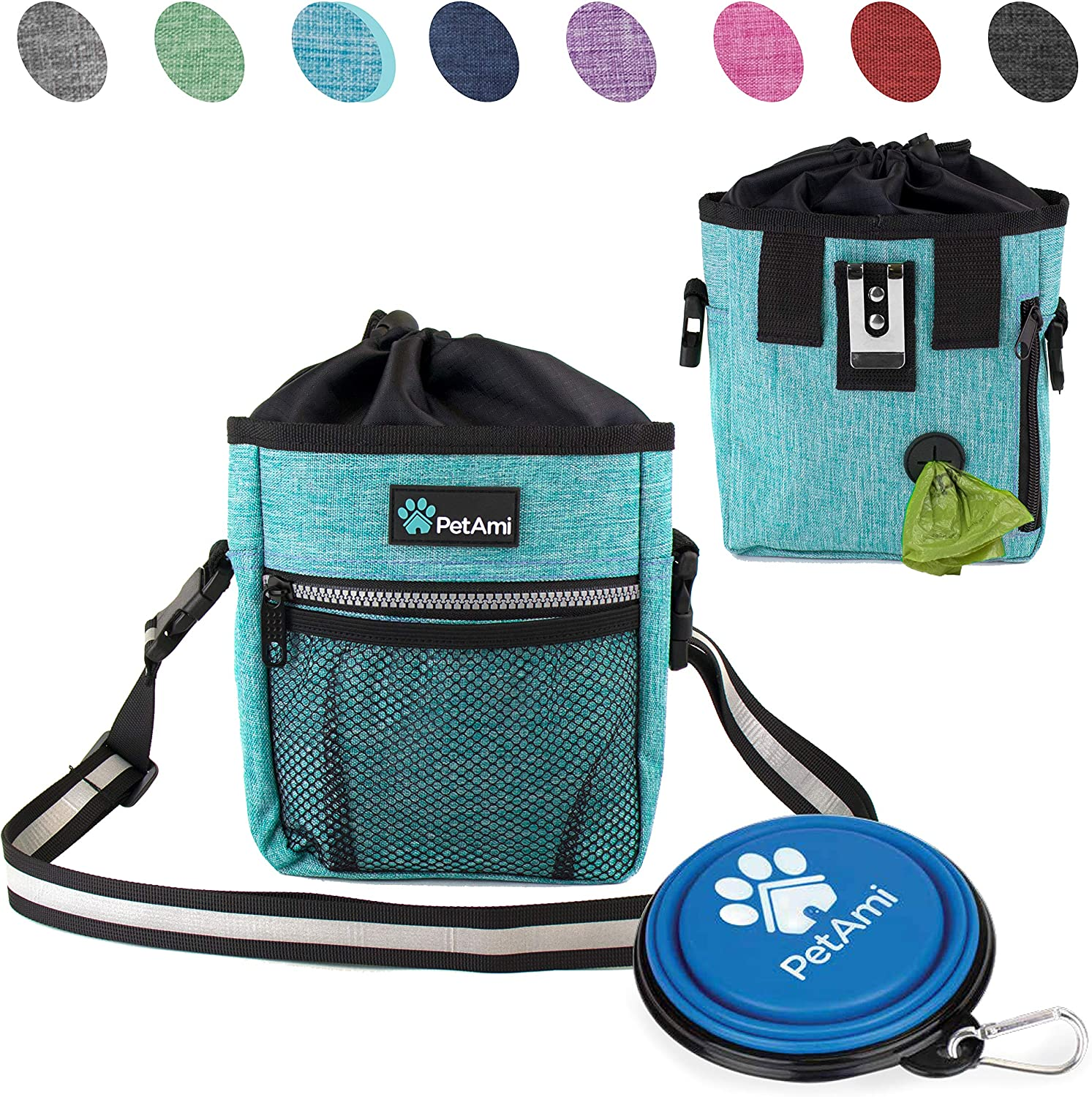 PetAmi Dog Treat Pouch   Dog Training Pouch Bag with Waist Shoulder Strap, Poop Bag Dispenser and Collapsible Bowl   Treat Training Bag for Treats, Kibbles, Pet Toys   3 Ways to Wear (Turquoise)