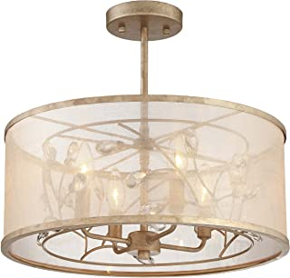 Minka Lavery Semi Flush Mount Ceiling Light 4434-252 Sara's Jewel Lighting Fixture, 4-Light 240 Watts, Champaign Silver