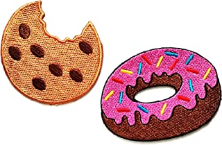 HHO Set 2 Piece Fast Food and Snack Patch Cookie with Pink Strawberry Donut Sweet Candy Food Patch for Bags Jacket T-Shirt Embroidered Sign Badge Costume