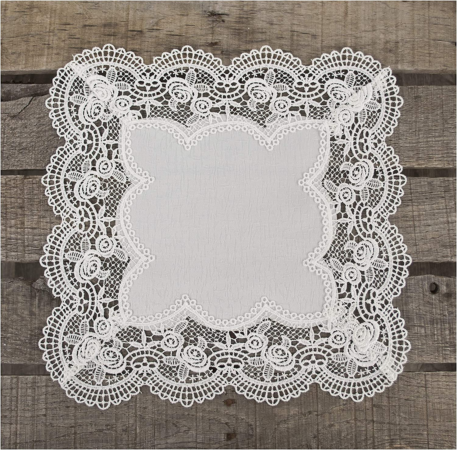 Square Antique Royal Rose European White Jacquard Lace Table Top Centerpiece 15 Inch Approx Doily Placemat