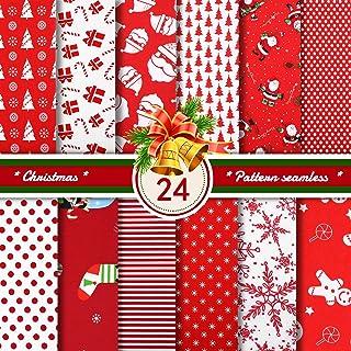 24 Pieces Christmas Cotton Fabric Christmas Fat Quarters Cotton Fabric Bundles 9.84 x 9.84 Inch Christmas Snowflake Print ...