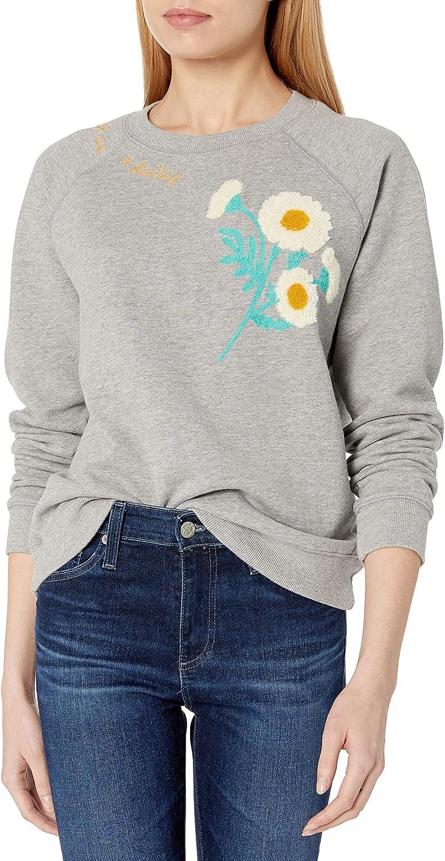 Lucky Brand Women's Long Sleeve Crew Neck Daisy Fresh Sweatshirt