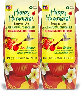 EZNectar Fast Feeder. The Only Disposable Ready-to-Use, Hummingbird Feeder w/No Preservatives or Dyes Exactly Like Flower Nectar. Never Clean Another Feeder! Patented. (2 Piece) 22 FL OZ Total