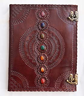 Sketch Book Leather Journal Chakra Stones of Shadows Books Notebook Spell Drawing Blank Recipe journals for Women Bound Me...