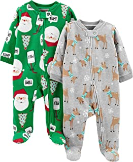 Simple Joys by Carter's Baby 2-Pack Christmas Fleece Footed Sleep and Play