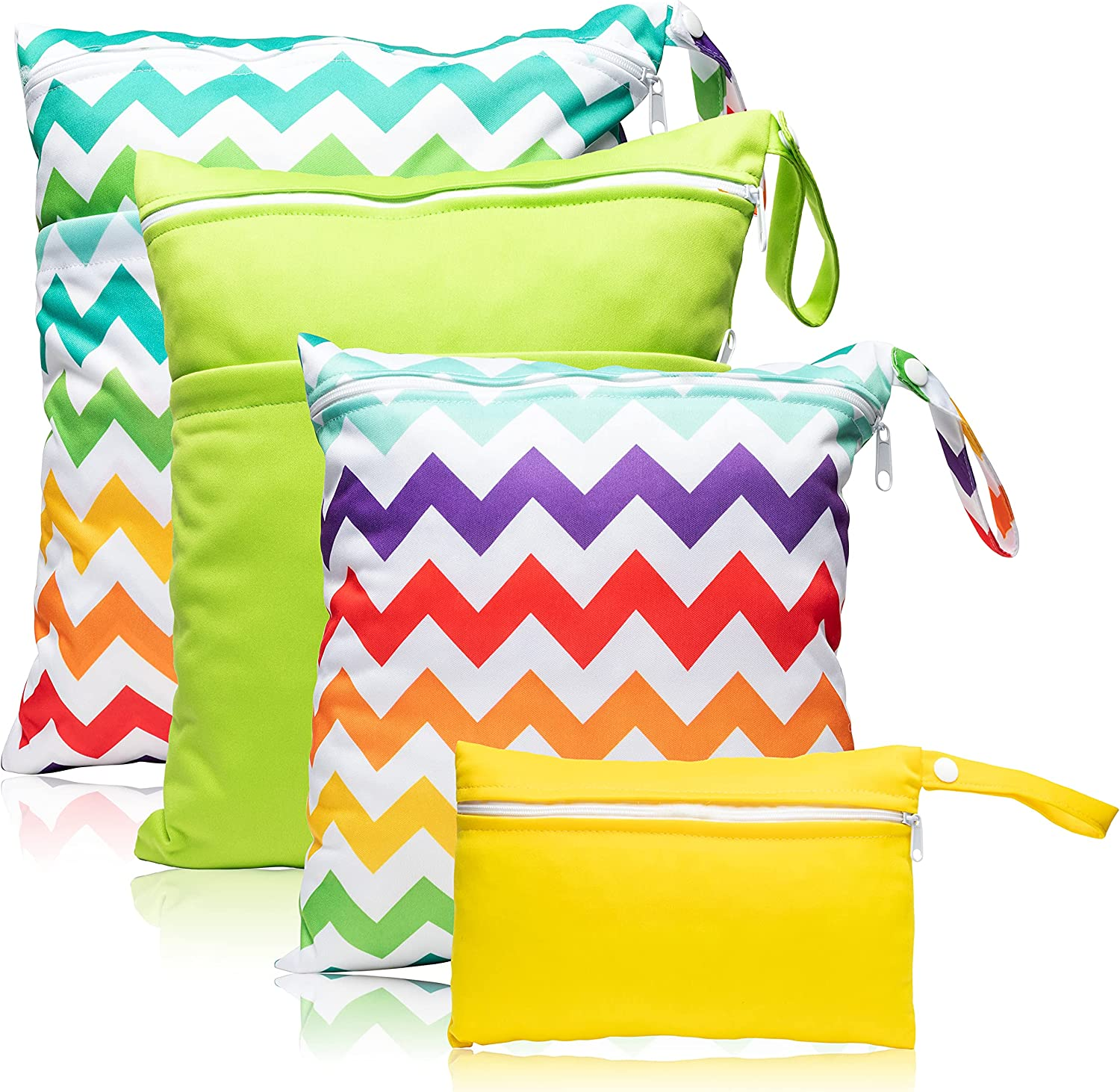 R HORSE 4Pcs Waterproof Reusable Wet Bag Diaper Baby Cloth Diaper Bag Colorful Ripple Yellow Green Wet Dry Bags with 2 Zippered Pockets Travel Beach Pool Bag (3 Sizes)