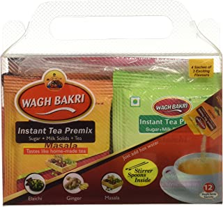 Wagh Bakri Instant Tea Premix, 4 Sachets Each of Elaichi, Ginger, Masala - Total 12 Sachets