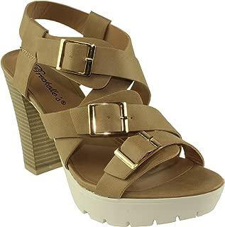 Breckelle's Women's Nella-01 Leatherette Cross Buckle Ankle Strap Lug Sole Chunky Heel Platform Sandals