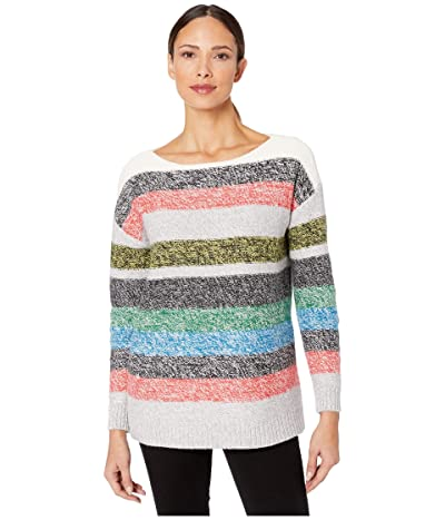 Vince Camuto Long Sleeve Color Block Boat Neck Sweater (Antique White) Women