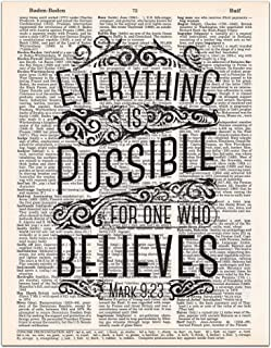 Mark 9:23, Everything is Possible, Christian Wall Art, Bible Verse, Rustic Decor, Dictionary Page, 8x11 inches, Unframed