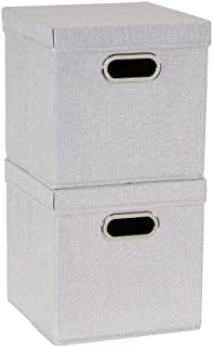 Household Essentials 804-1 Café Cube Bin Storage Set with Lids and Handles   2 Pack, Grey Linen