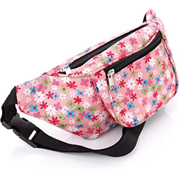 Blue Tone Tribal and Pink Sequin Waist Bag Fanny Pack Money Bum Bag Hip Belt