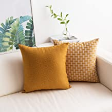 Home Brilliant 2 Pack Faux Linen Pillow Covers Cases Thanksgiving Gift Dots and Checkers Plaids Textured Fall Home Decor Square Yellow Throw Pillow Covers Cushion Cover for Couch, 18 x 18in(45cm), Whi