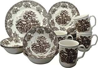 Claytan 16-Piece Dinner Set - Brown, Malaysian (307RS16)