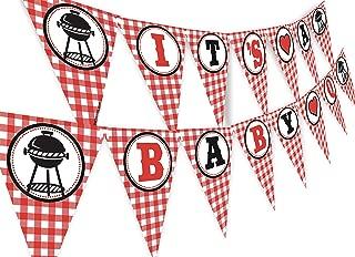 POP parties Baby Q Banner - BBQ Baby Shower Banner - Red Gingham Shower Banner