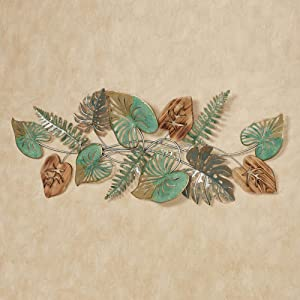 Touch of Class Botanical Medley Palm Fern Fronds Leaves Wall Art Green - Handcrafted Metal Decor, Wooden - Large - Tropical Leaves Themed Metallic Sculpture for Bedroom, Living Room - 47 Inches Wide