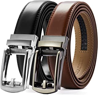 """Mens Ratchet Belt 1 1/8"""", Leather Belt with Automatic Buckle, Trim to Fit Gift Set"""