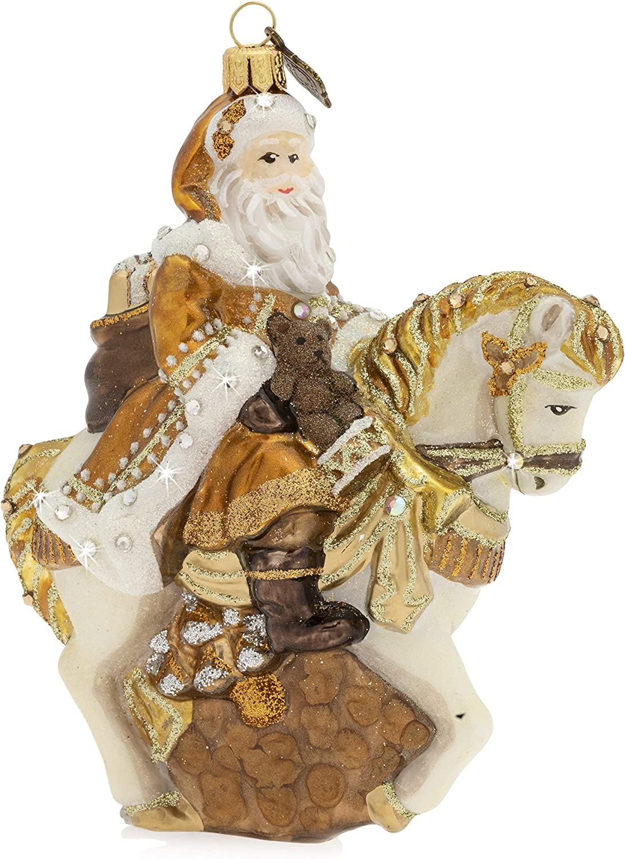 安い Jay Strongwater Santa on 新作多数 Glass Ornament Horse