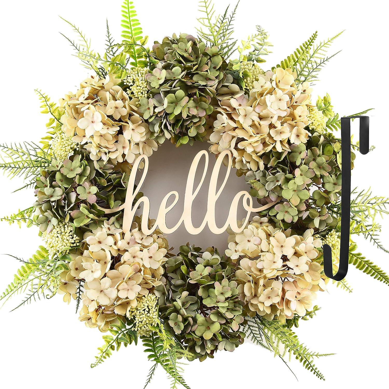 Summer Wreaths for Front Door Long Beach Mall Credence Outdoor Wre Hello Spring Handmade