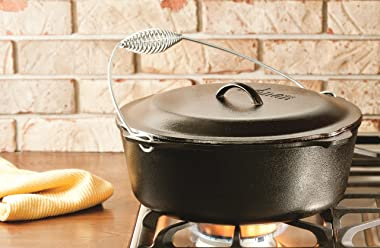 Lodge 9 Quart Cast Iron Dutch Oven. Pre Seasoned Cast Iron Pot and Lid with Wire Bail for Camp Cooking