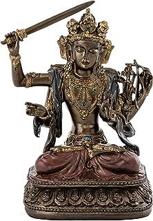 Top Collection Decorative Manjusri Buddha Statue- Bodhisattva of Transcendent Wisdom Sculpture in Premium Cold Cast Bronze- 5.25-Inch Collectible East Asian New Age Buddhist Figurine
